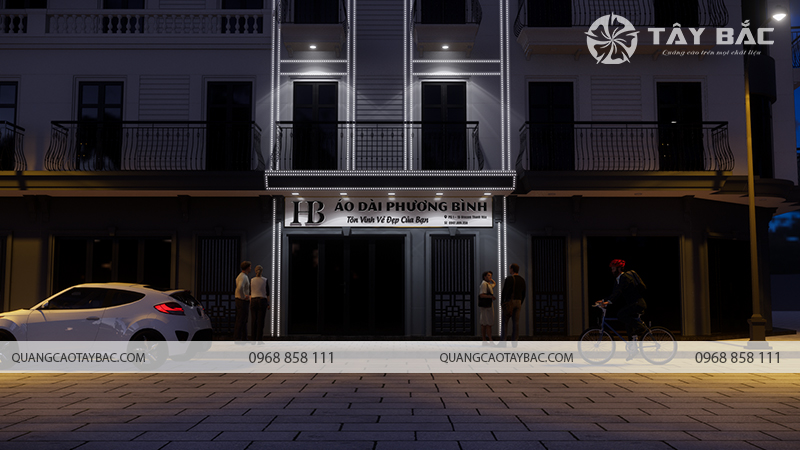 Phối cảnh ban đêm biển quảng cáo áo dài Phương Bình