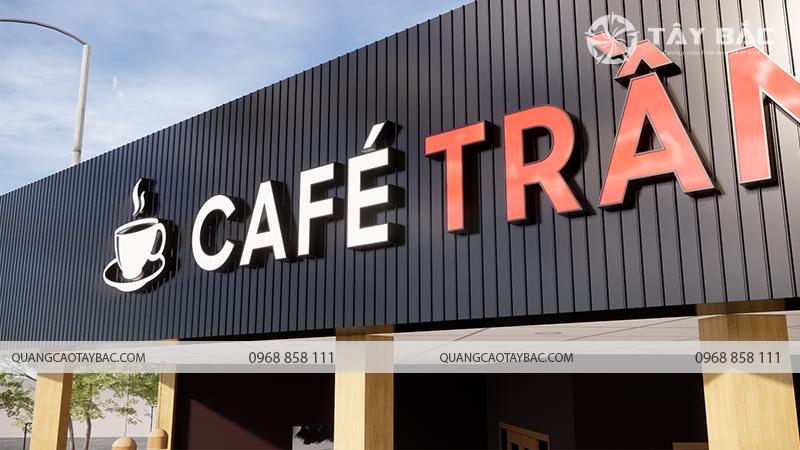 Ảnh chụp sát mẫu chữ sử dụng trong biển cafe Trầm