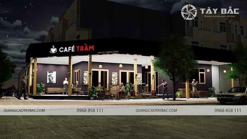 Bộ chữ gắn led biển hiệu cafe Trầm vào buổi tối