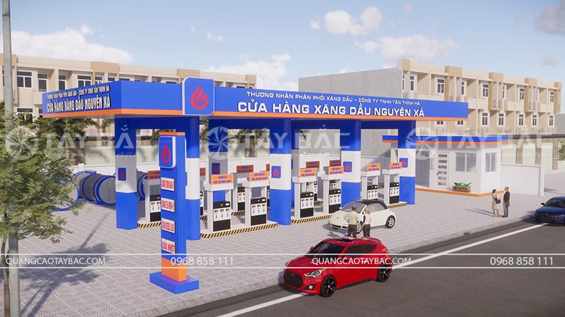 Phối cảnh biển quảng cáo cửa hàng xăng dầu nguyên xá