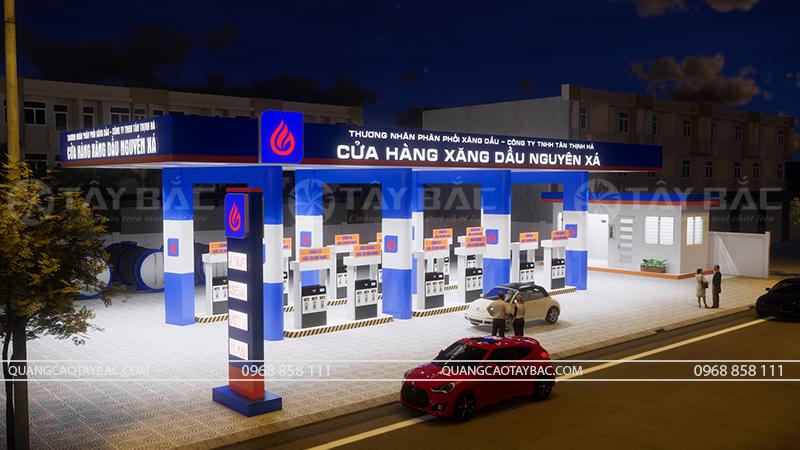 Phối cảnh ban đêm cửa hàng xăng dầu Nguyên Xá