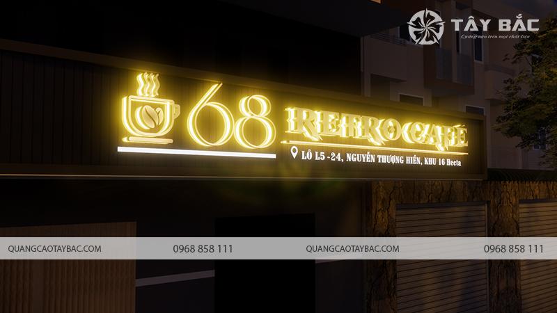 Phối cảnh bộ chữ ban đêm biển quảng cáo cafe 68