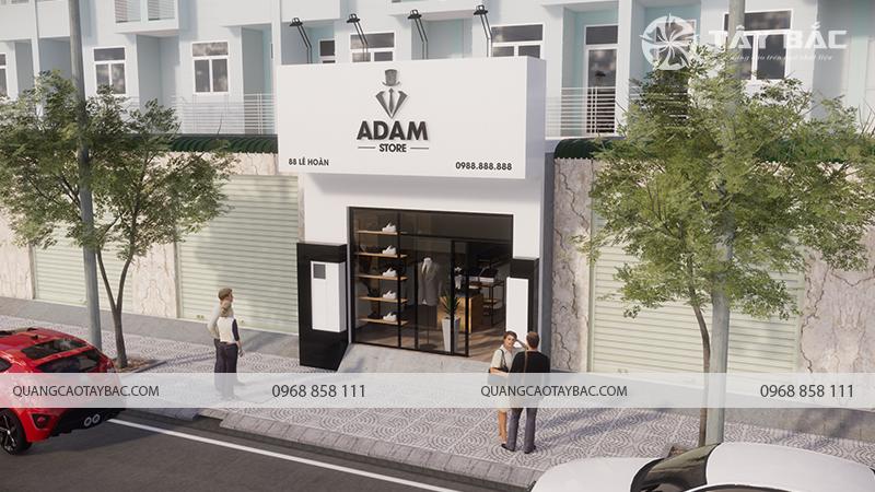 Chi tiết phối cảnh mặt tiền biển quảng cáo thời trang Adam Store