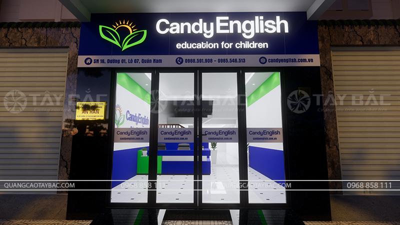 phối cảnh buổi tối trung tâm tiếng anh Candy English