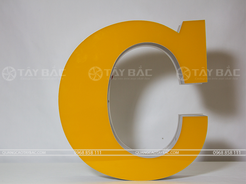 Mẫu chữ viền nhôm mặt chữ đổ keo