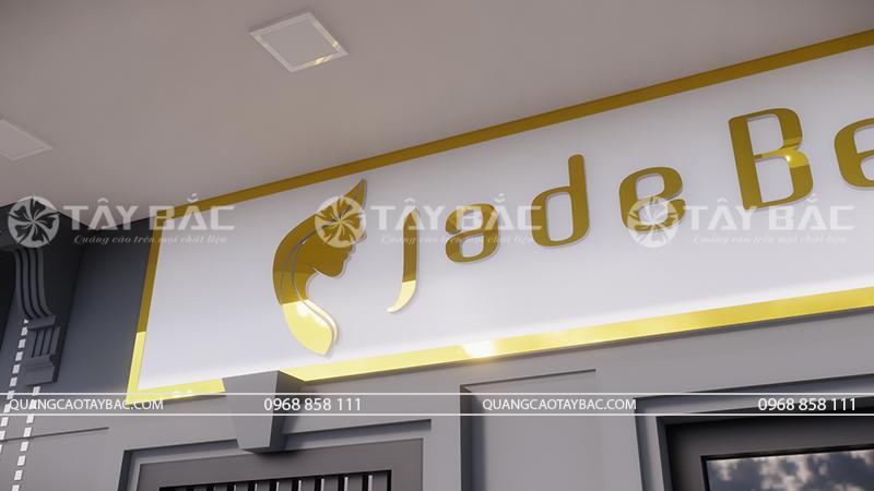 Góc chụp cận cảnh bộ chữ sử dụng trên biển spa Jade