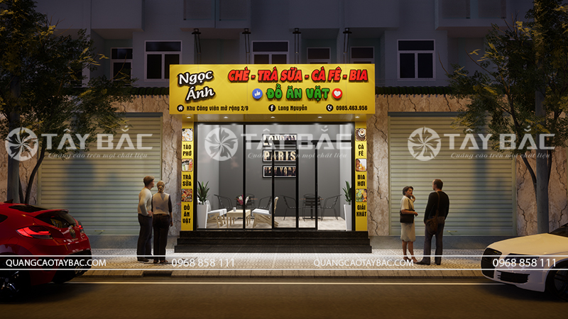 Biển quảng cáo đồ ăn vặt Ngọc Ánh