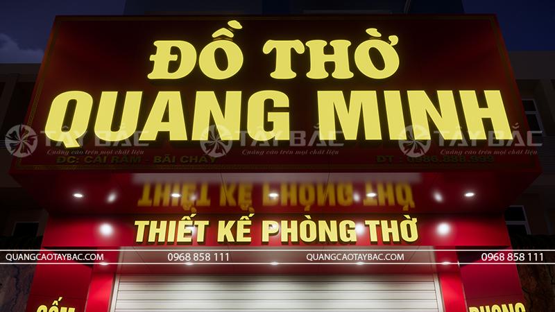 Phối cảnh mặt tiền buổi tối biển đồ thờ Quang Minh