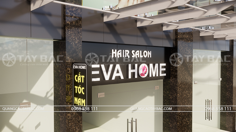 Góc chụp phối cảnh biển quảng cáo tóc Eva Home