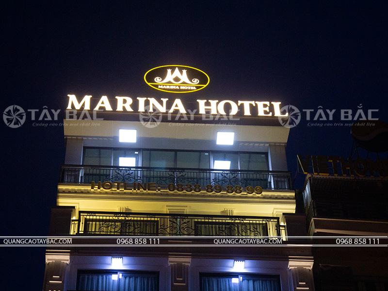bộ chữ trên nóc khách sạn Marina