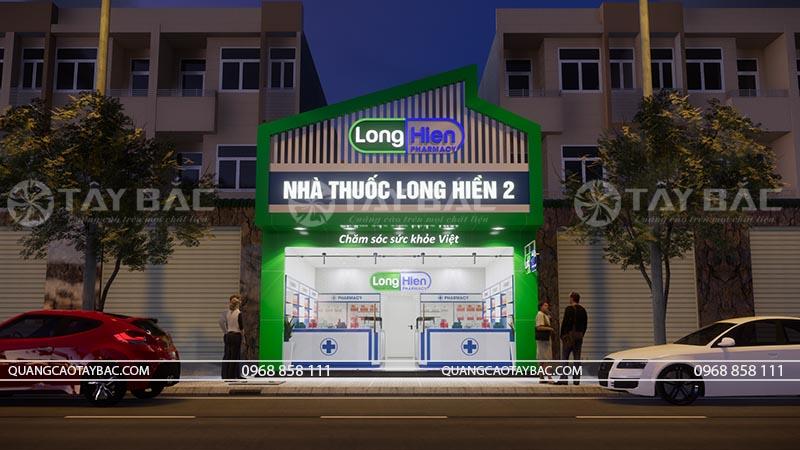 Phối cảnh buổi tối biển hiệu nhà thuốc Long HIền