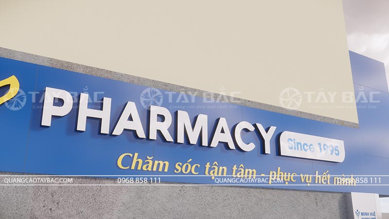 phối cảnh biển quảng cáo nhà thuốc Minh Huệ