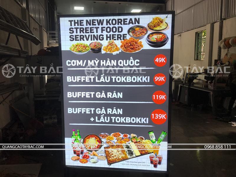 Biển hộp đèn menu nhà hàng