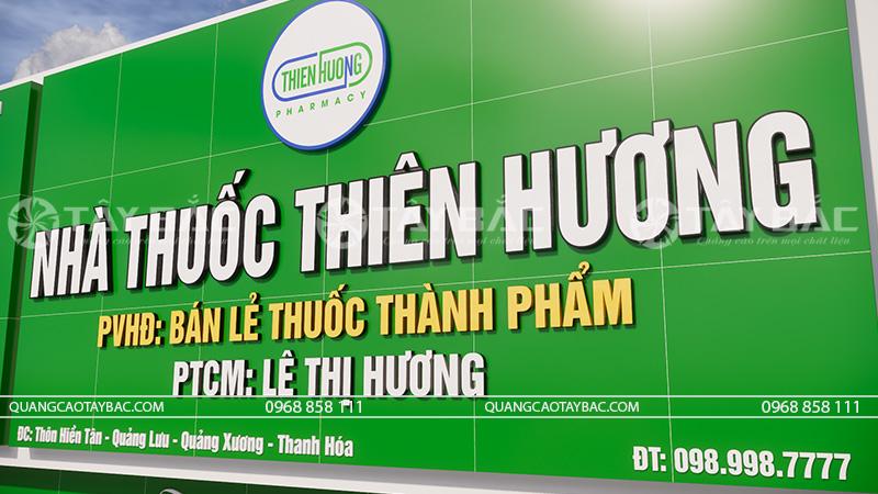Chụp cận mẫu chữ sử dụng nhà thuốc Thiên Hương