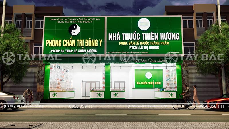 Phối cảnh buổi tối mặt tiền biển hiệu nhà thuốc Thiên Hương