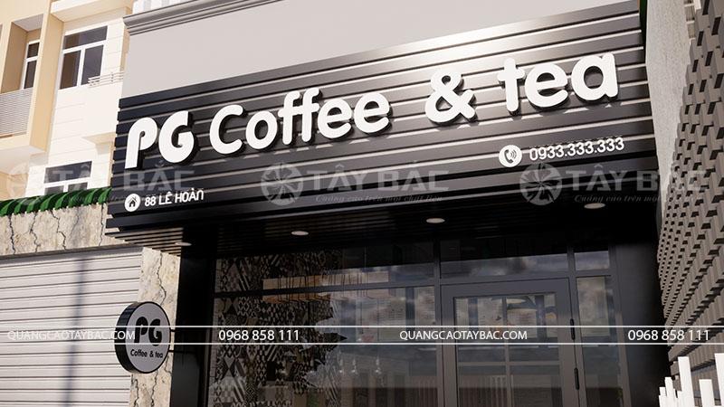 Góc chụp cận biển quảng cáo coffee PG