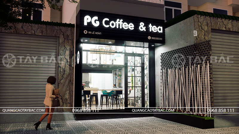 Phối cảnh buổi tối biển coffee PG