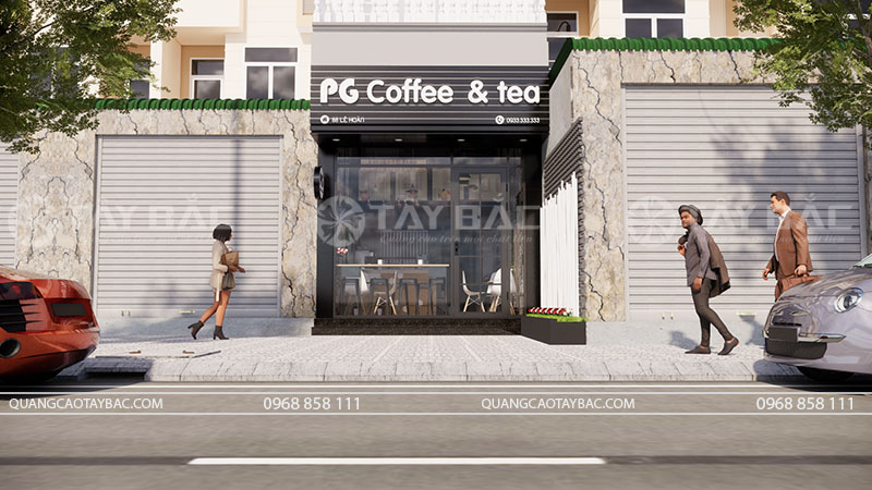 Phối cảnh mặt tiền biển quảng cáo coffee PG