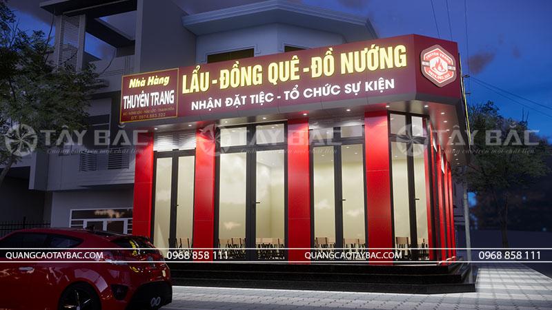 Phối cảnh buổi tối biển nhà hàng lẩu nướng Nguyên Trang
