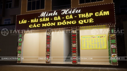 Bộ chữ sử dụng trên biển nhà hàng Minhb Hiếu