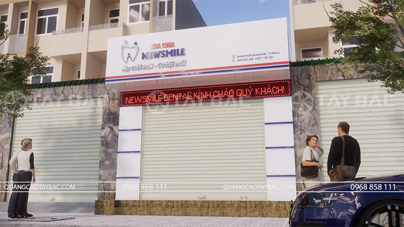 Phối cảnh biển quảng cáo nha khoa New Smile