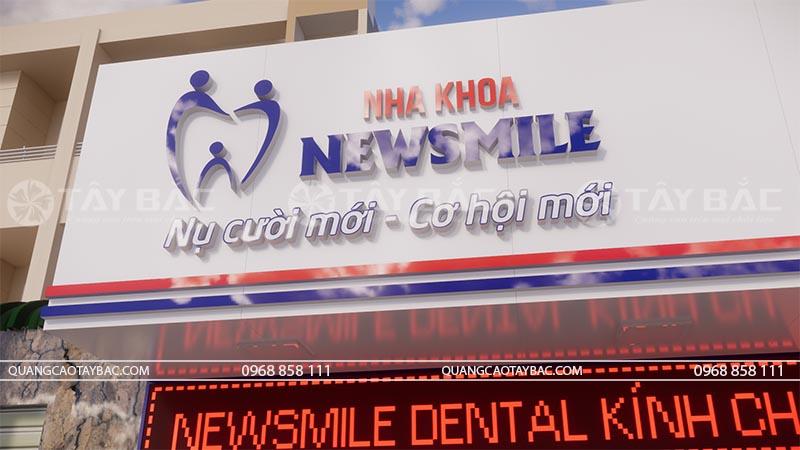 Phối cảnh chi tiết bộ chữ sử dụng biển nha khoa New Smile