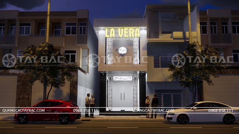 Phối cảnh buổi tối sử dụng led biển quảng cáo shop quần áo Vera