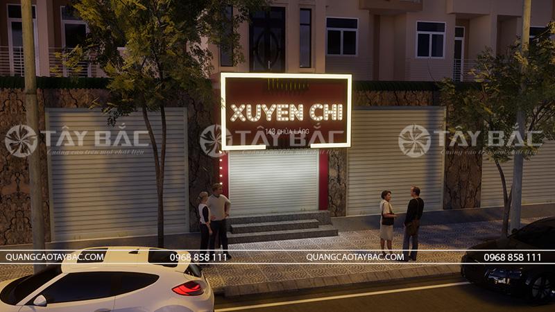 Phối cảnh bộ chữ chiếu sáng buổi tối shop quần áo Xuyến Chi