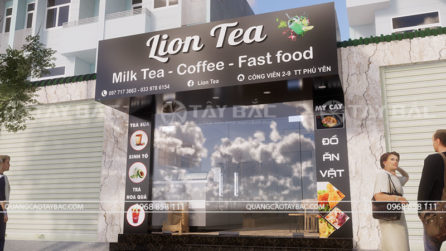 Phối cảnh mặt tiền quán Lion Tea