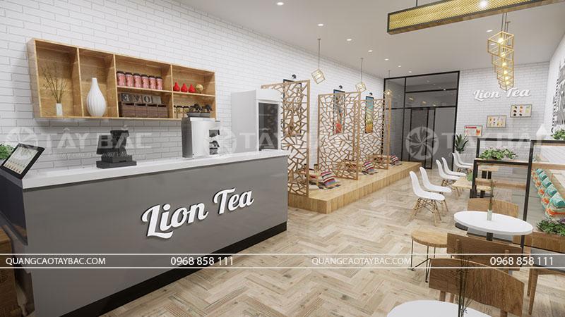 Phối cảnh nội thất quán Lion Tea