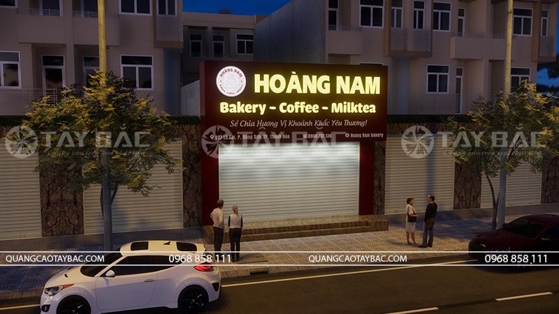 Phối cảnh biển mặt tiền tiệm bánh Hoàng Nam