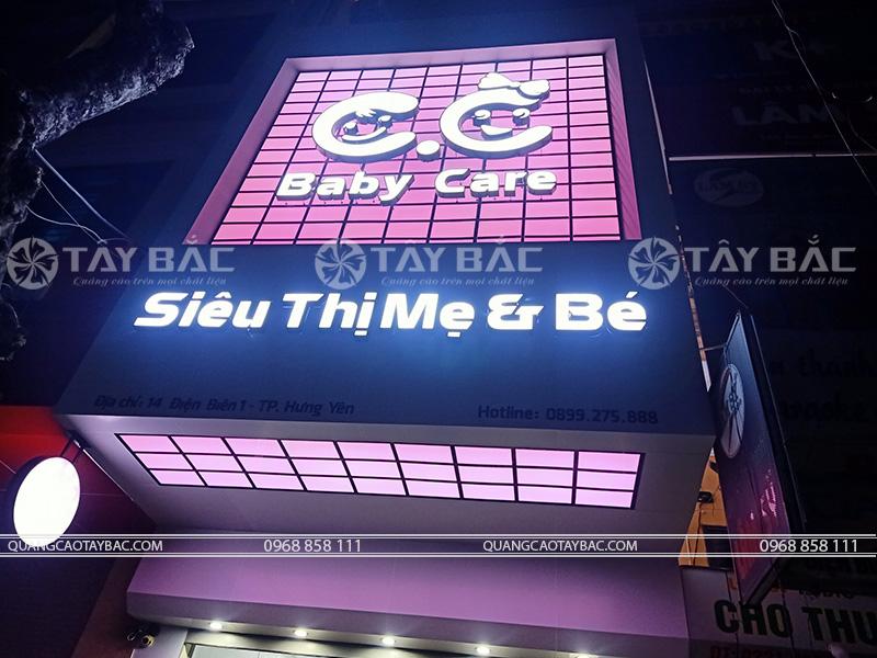 Thi công biển quảng cáo cửa hàng mẹ và bé CC Baby