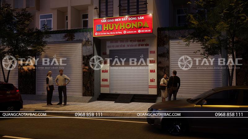 Phối cảnh buổi tối bảng hiệu nhà đất Huy Honda