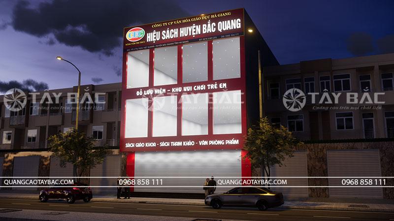 Phối cảnh buổi tối biển quảng cáo nhà sách Bắc Quang