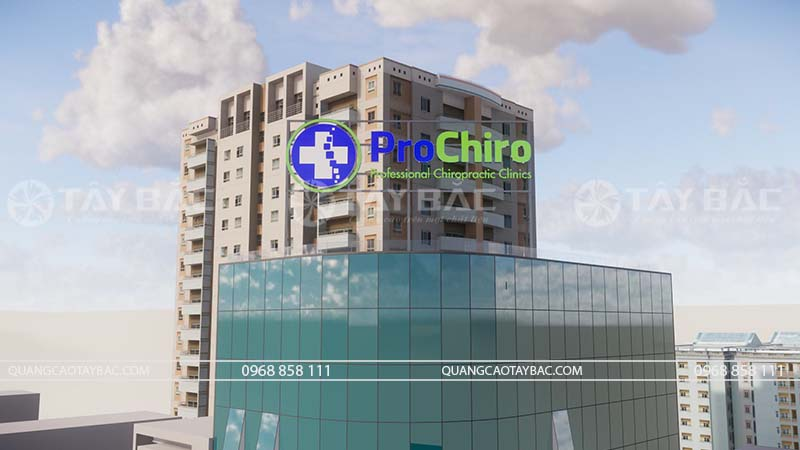 Phối cảnh biển quảng cáo phòng khám Pro Chiro