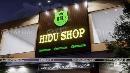 Góc chụp cận bộ chữ và nền biển Hidu shop