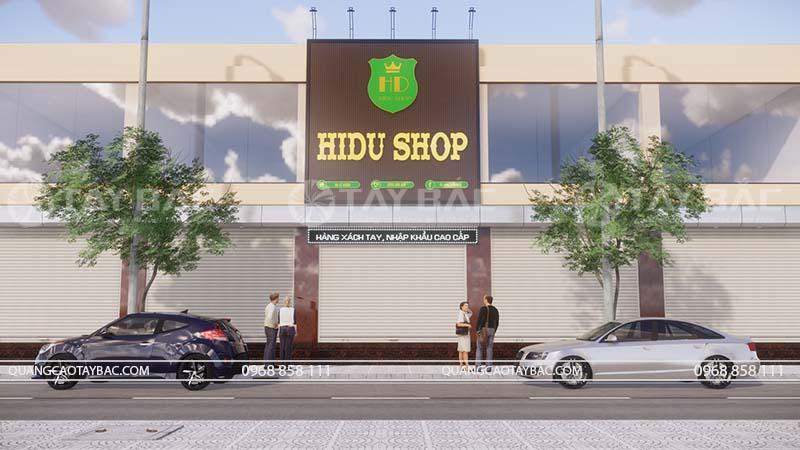 Biển quảng cáo cửa hàng Hidu shop