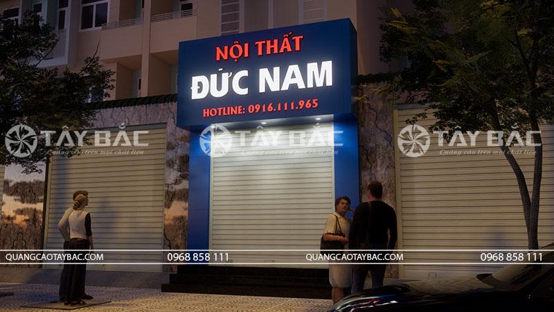 Biển quảng cáo nội thất Đức Nam vào buổi tối