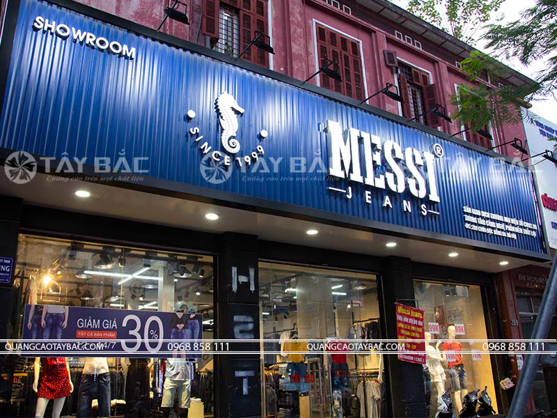 Biển hiệu shop quần áo Messi