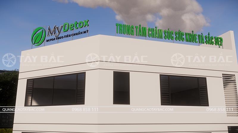 Bộ chữ trên nóc tòa nhà trung tâm Detox