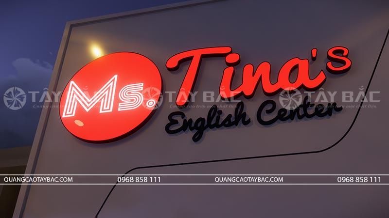 Bộ chữ biển quảng cáo trung tâm ngoại ngữ Tina