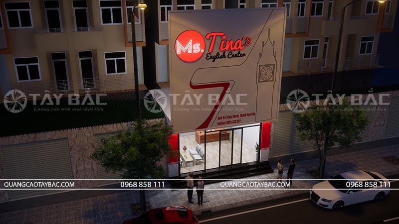Biển quảng cáo trung tâm ngoại ngữ Tina ở một góc chụp khác