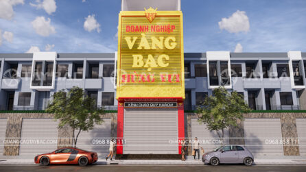 Bảng hiệu quảng cáo tiệm vàng Hùng Vui