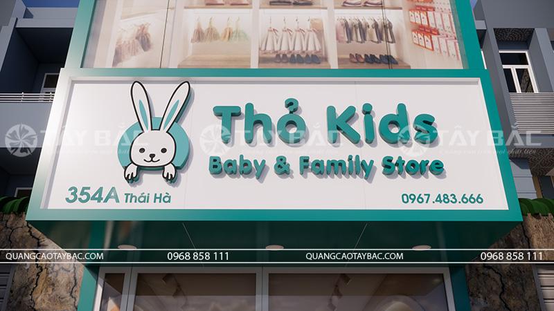 biển hiệu shop mẹ và bé Thỏ Kids