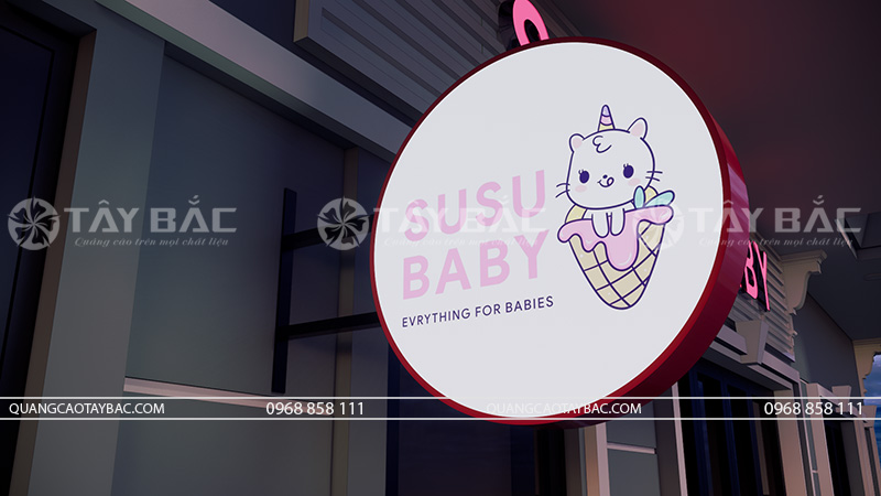 biển quảng cáo cửa hàng mẹ và bé Susu Baby