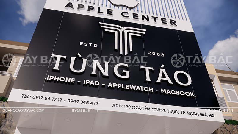 biển quảng cáo cửa hàng điện thoại phụ kiện Tùng Táo