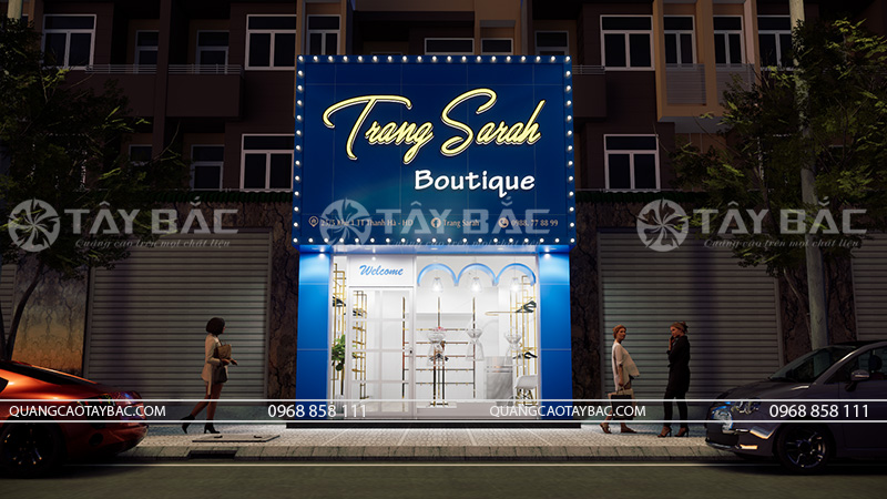 thiết kế biển hiệu shop Trang Sarah